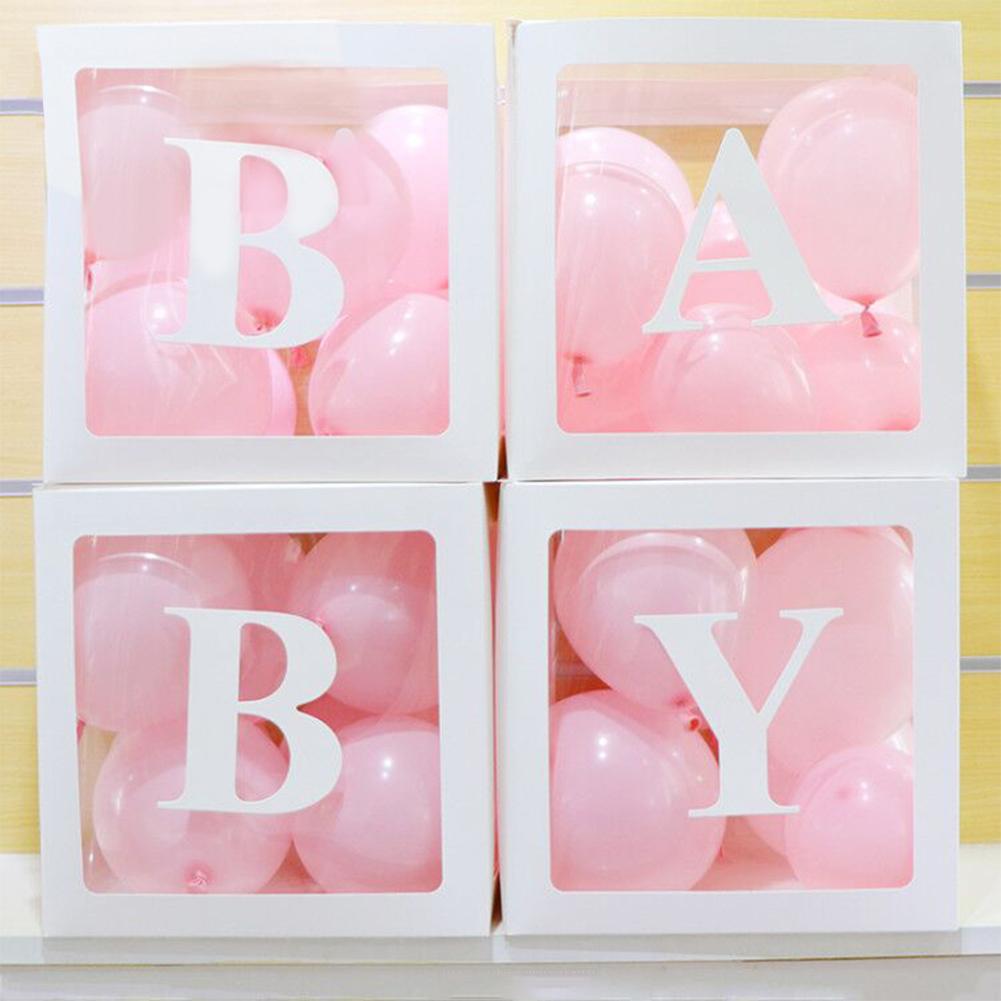 4pcs/set DIY Transparent Box Blocks for Wedding Birthday Party Ballons Decoration BABY balloon box (white)