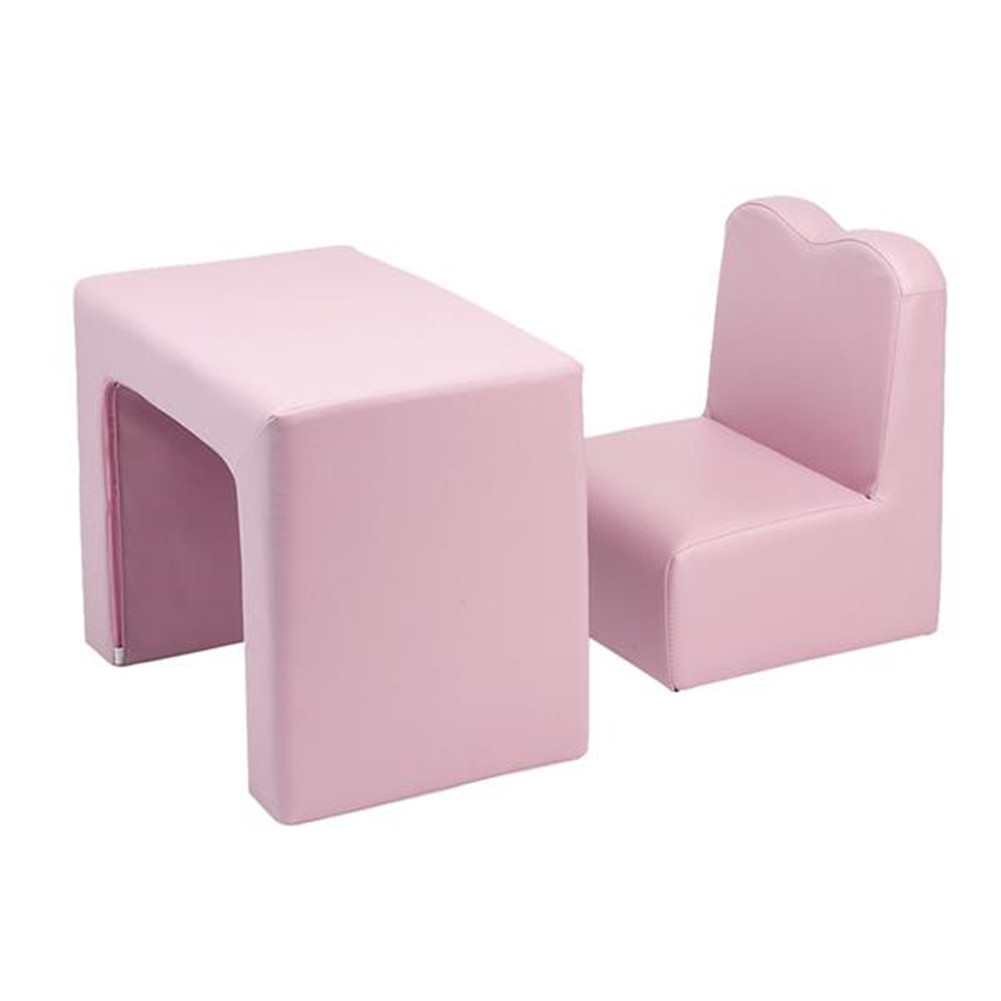 [US Direct] 1 Set N101 Single 2-in-1 Pu 49*32*39cm Rectangular Pink Modern Sofa For Over 1 Year Old Kids Pink