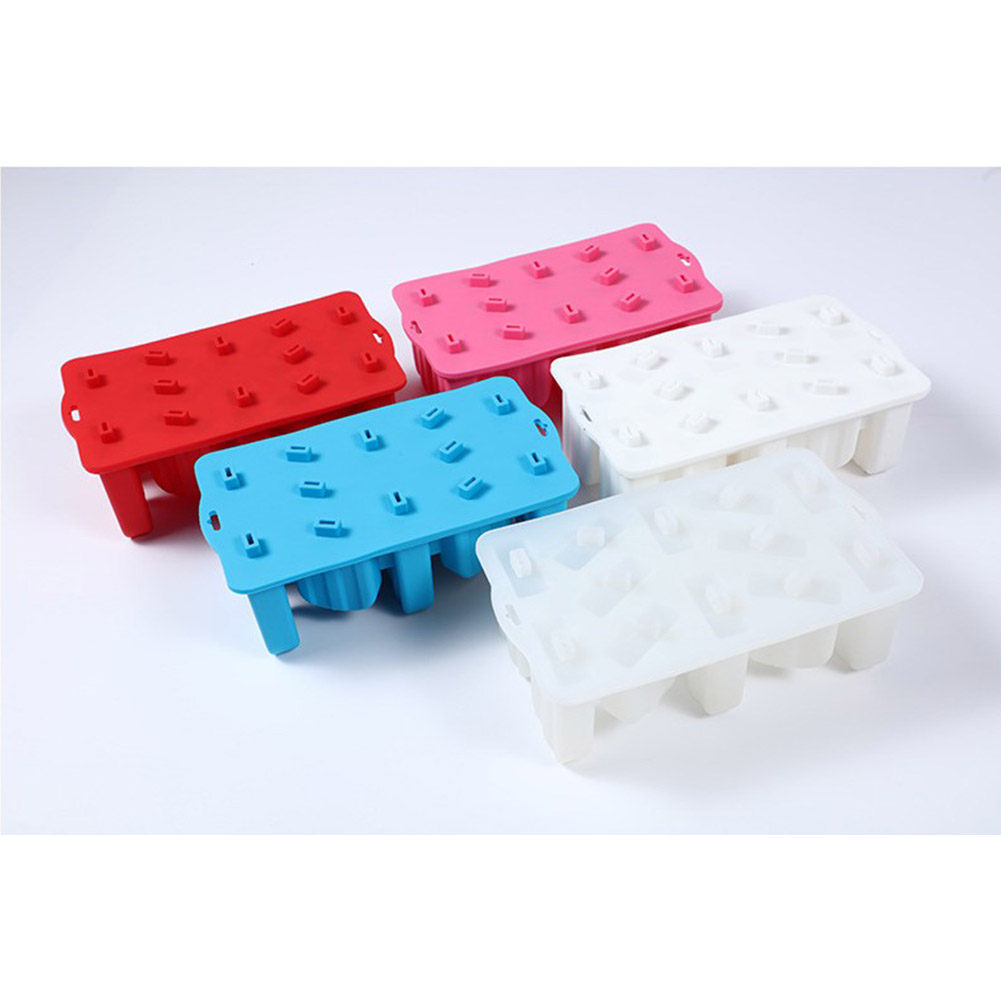 12 Holes Ice Cream Mold Silicone Homemade Popsicle DIY Ice-sucker Mould for Kids Adults Transparent white