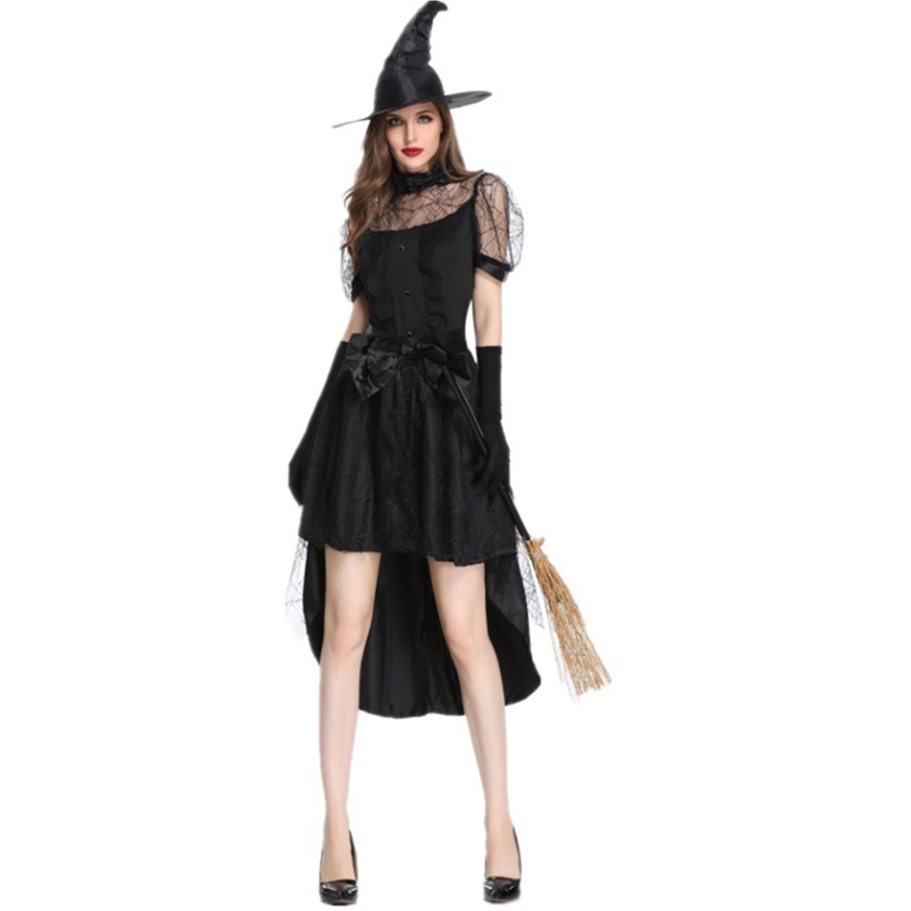 Halloween Witch Black Cosplay Costume Improved Slim Party Dress Horrifying Women Easter COS Performance Clothing Masquerade Gown black_L