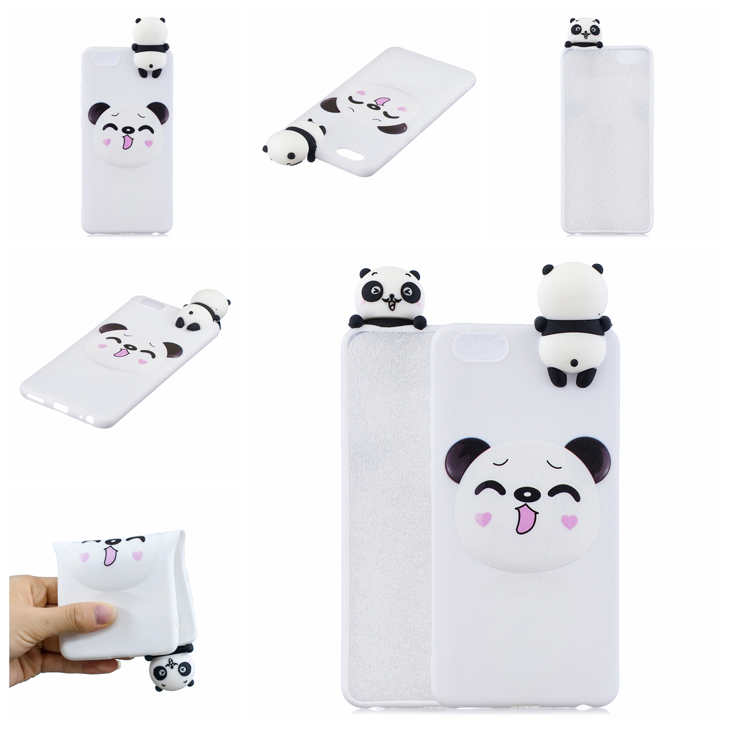 For VIVO Y71 3D Cute Coloured Painted Animal TPU Anti-scratch Non-slip Protective Cover Back Case Smiley panda