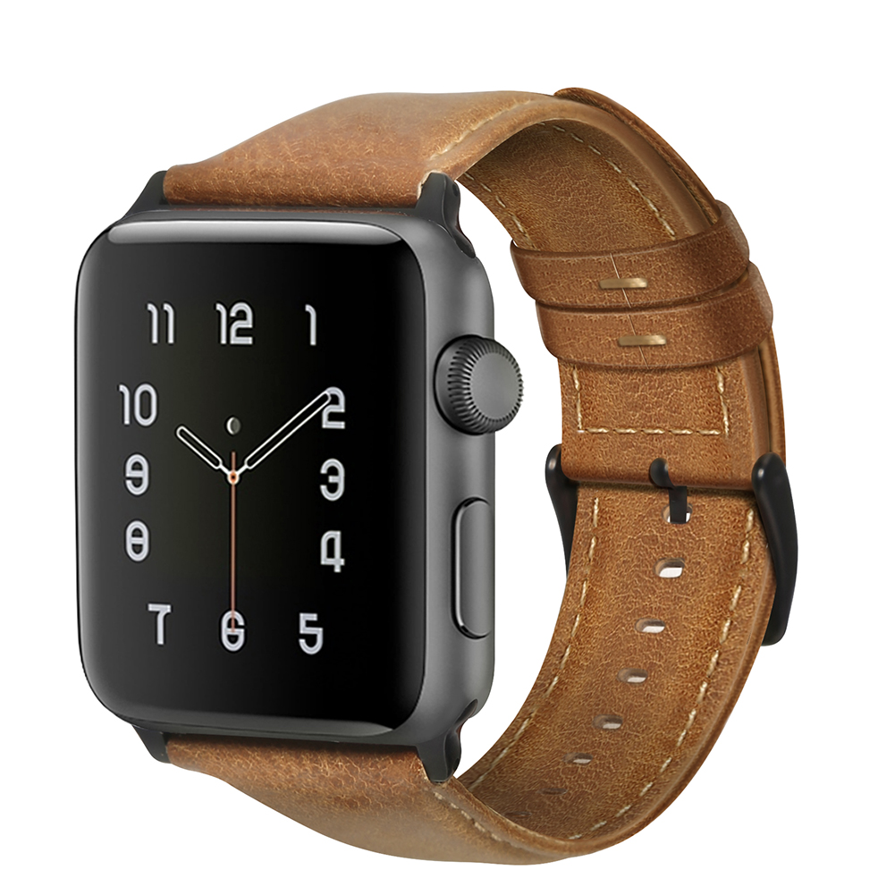 Retro Vintage Leather Strap Replacement Watchband for Apple Watch Series 3 /2 / 1 42mm/38mm 42mm yellow brown