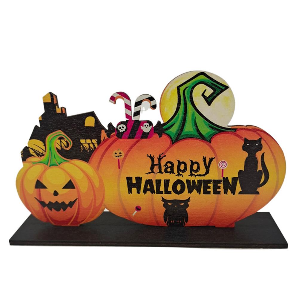 Wooden  Pendant Halloween Pumpkin Skull Spider Bat Party Scene Decorative Ornaments No. 6 20*12.5CM weighs 55 grams