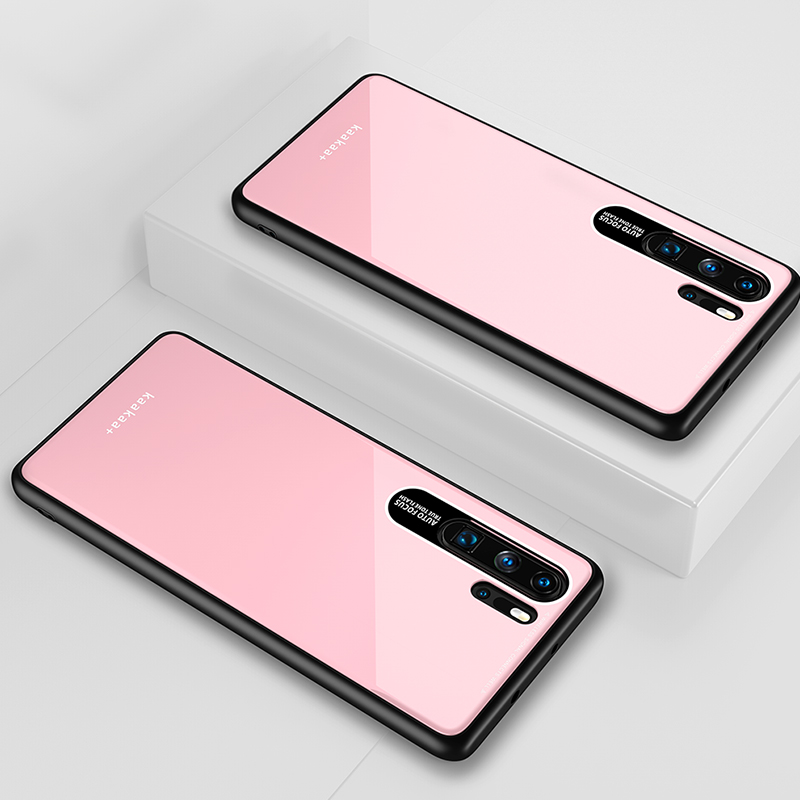 HUAWEI P30 Pro Simple Solid Color Acrylic Backboard + TPU Soft Edge Anti-scratch Anti-fall Protective Back Case Pink