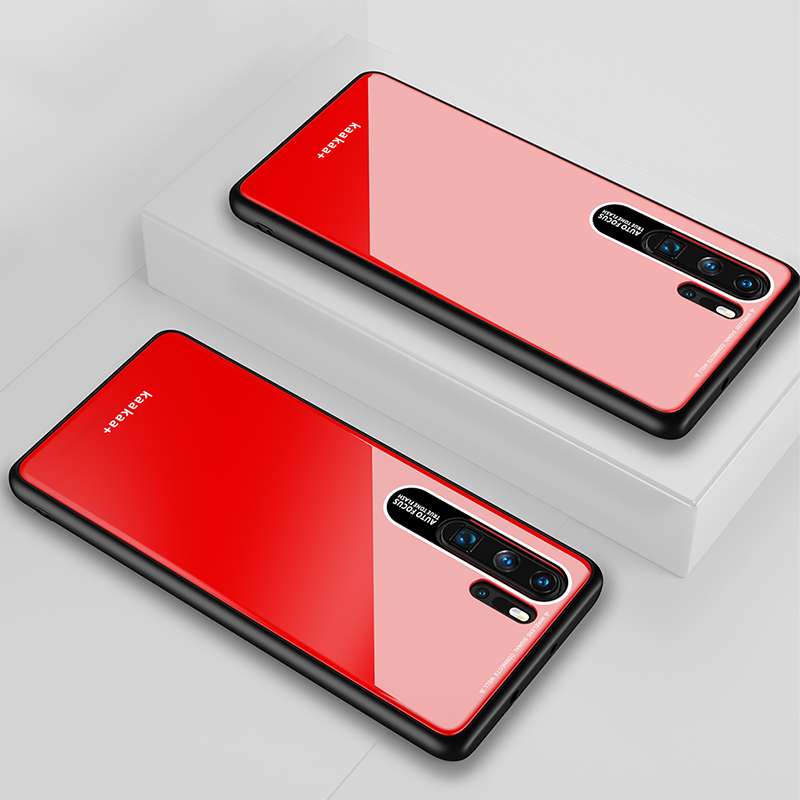 HUAWEI P30 Pro Simple Solid Color Acrylic Backboard + TPU Soft Edge Anti-scratch Anti-fall Protective Back Case red
