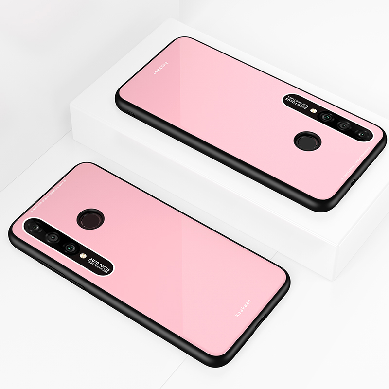HUAWEI P30 lite-NOVA 4E Simple Solid Color Acrylic Backboard + TPU Soft Edge Anti-scratch Anti-fall Protective Back Case Pink