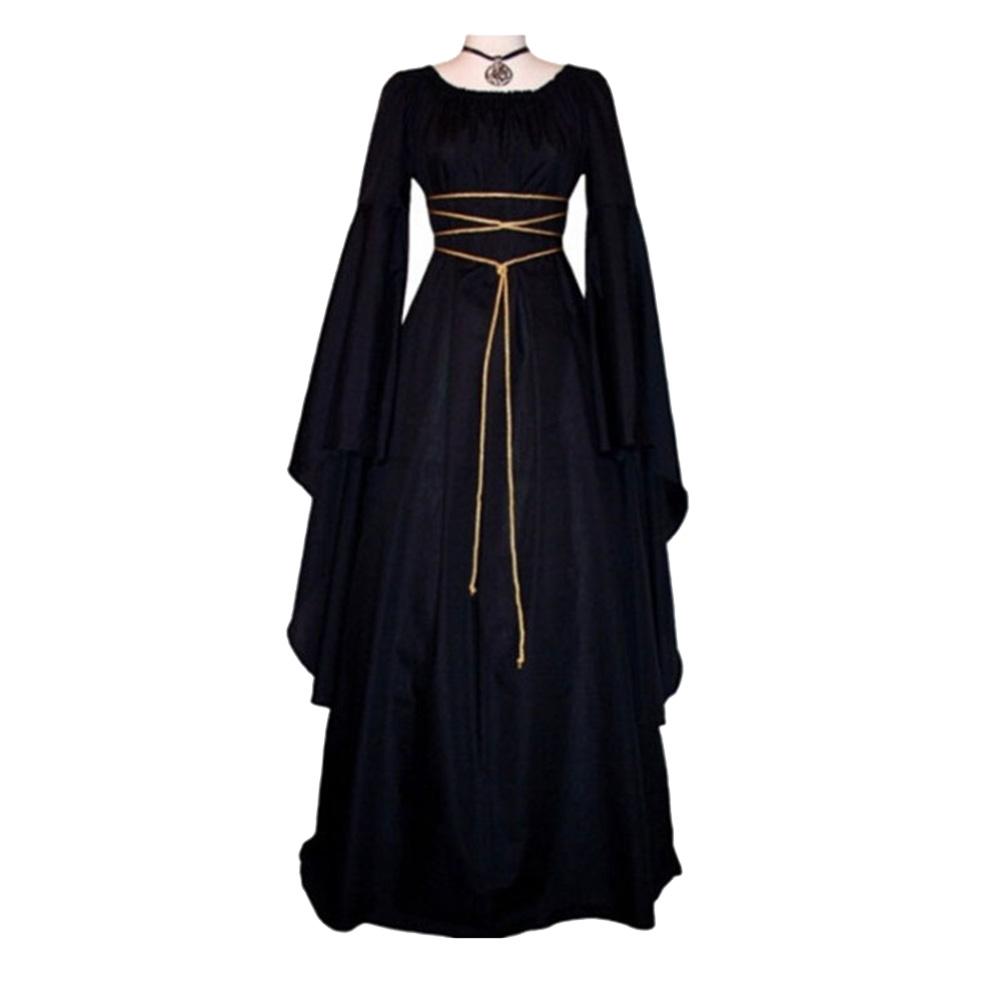 Women Long Sleeve Round Collar Belt Irregular Ladies Dress Halloween Costume black_L