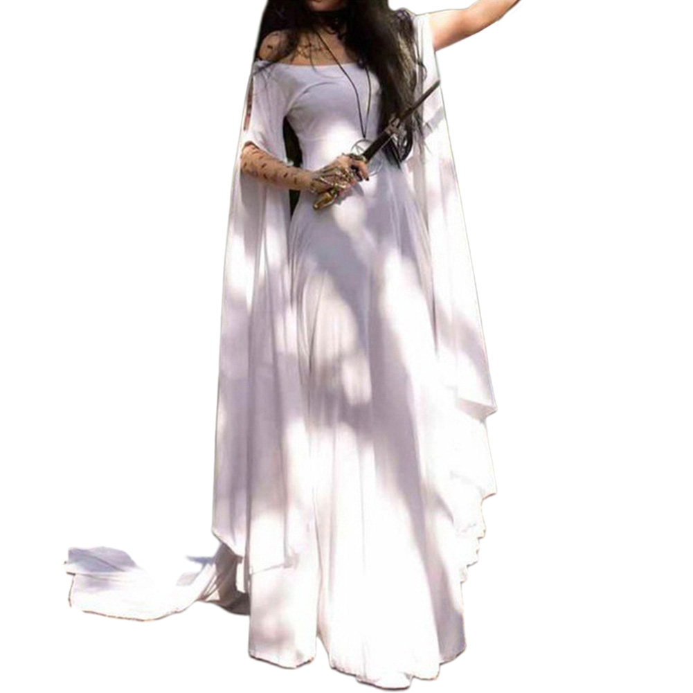 Party Long Sleeve Belt Ladies Dress Halloween Dress white_S