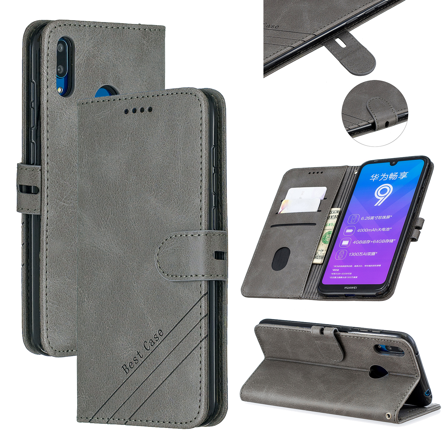 For HUAWEI Y7 2019 Denim Pattern Solid Color Flip Wallet PU Leather Protective Phone Case with Buckle & Bracket gray
