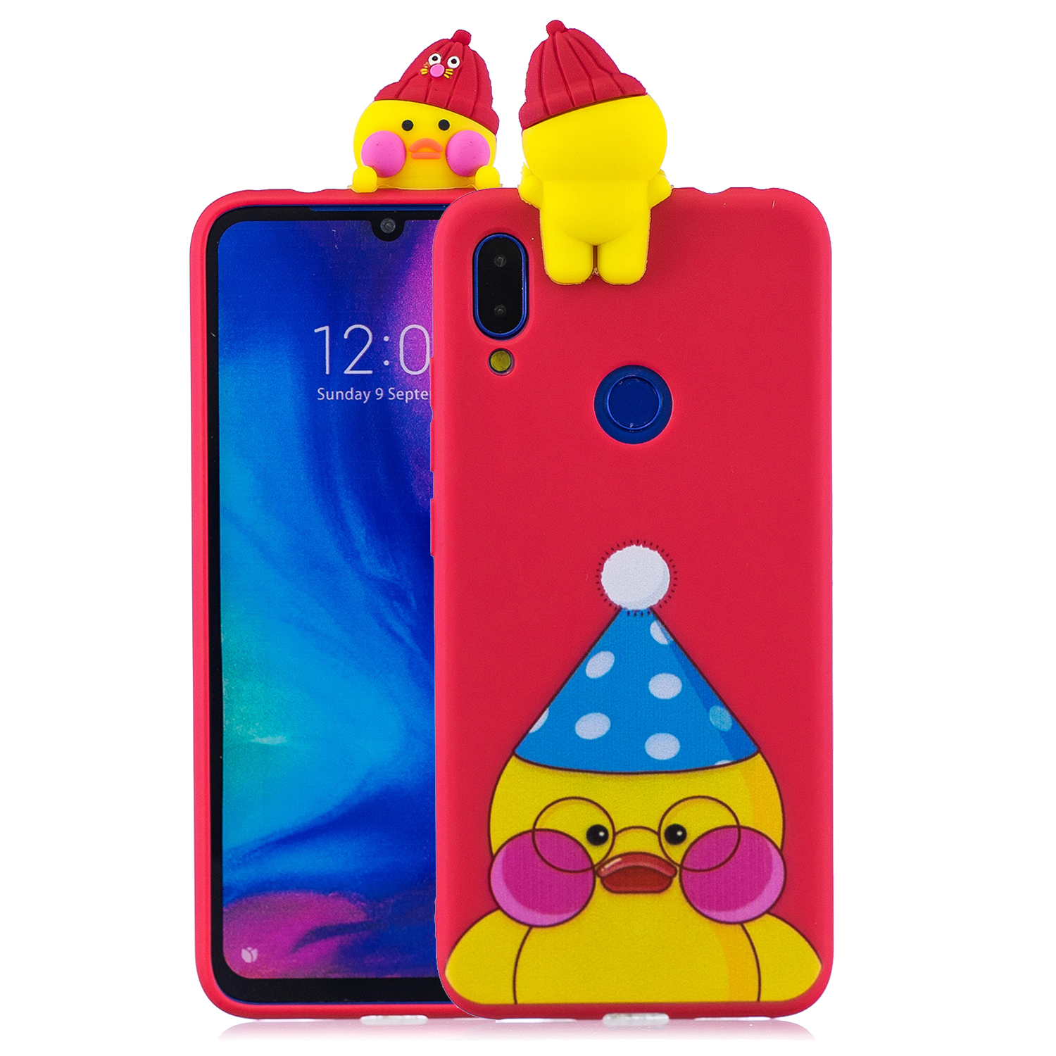 For Redmi NOTE 7 3D Cute Coloured Painted Animal TPU Anti-scratch Non-slip Protective Cover Back Case red