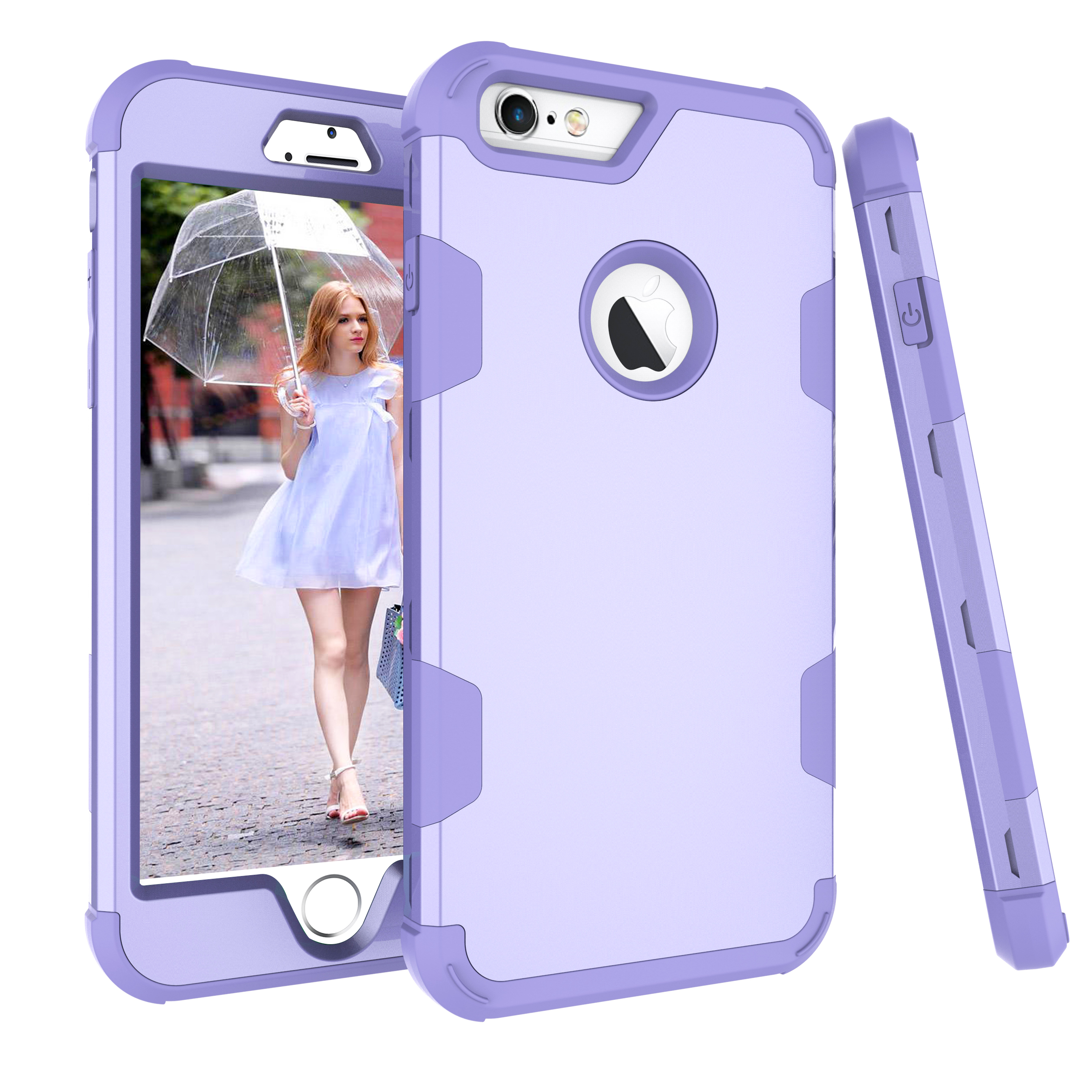 For iPhone 6 plus/6S plus PC+ Silicone 2 in 1 Hit Color Tri-proof Shockproof Dustproof Anti-fall Protective Cover Back Case purple