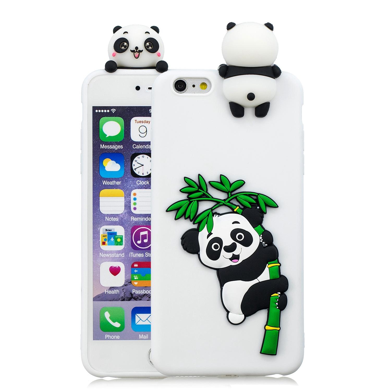 For iPhone 5/5S/SE/6/6S/6 Plus/6S Plus/7/8/7 Plus/8 Plus Phone Case 3D Cartoon Panda Bamboo Cellphone Back Shell Shockproof Smartphone Cover White