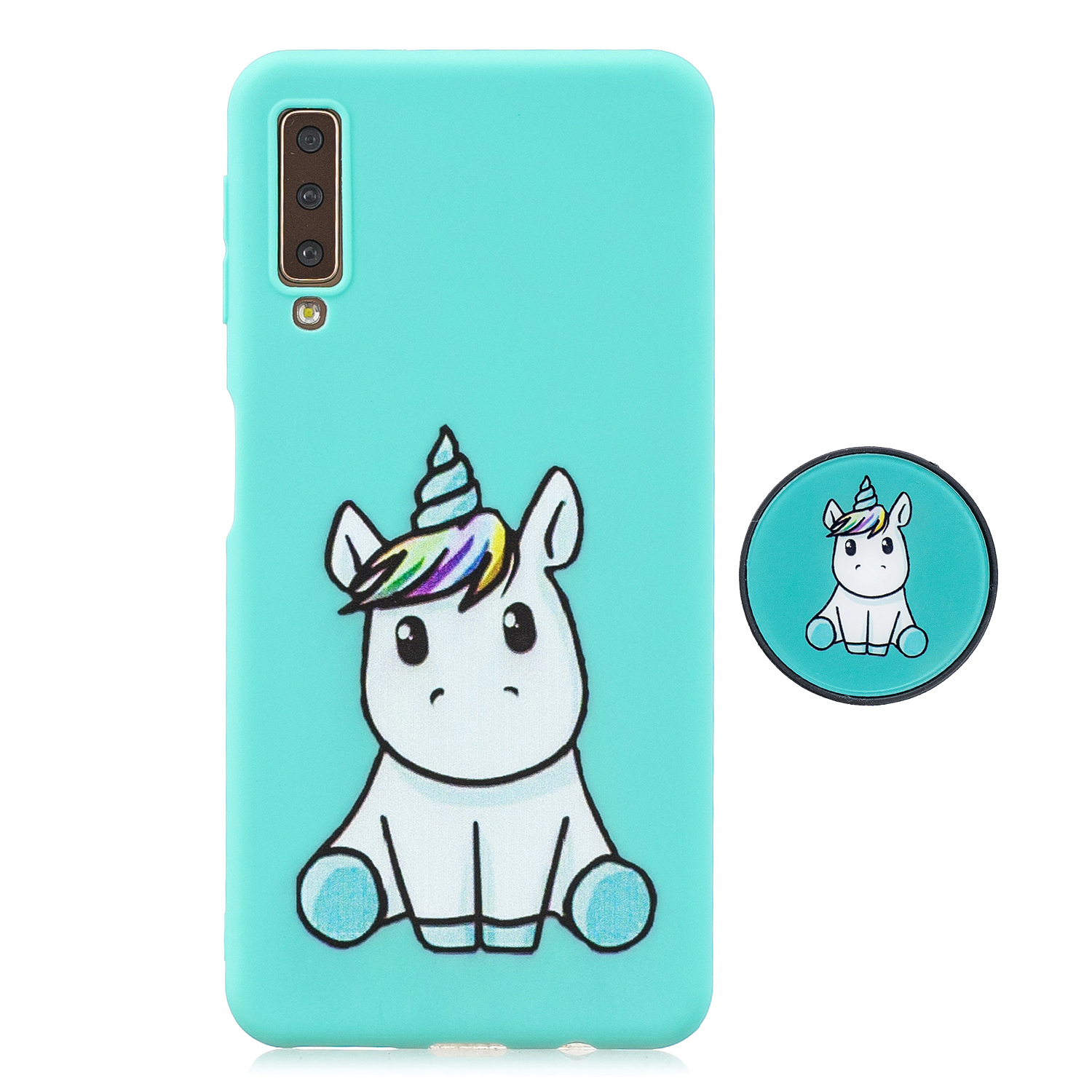 For Samsung A7 2018 A750 Full Cover Protective Phone Case Cartoon Pattern Solid Color TPU Phone Case with Adjustable Bracket 5