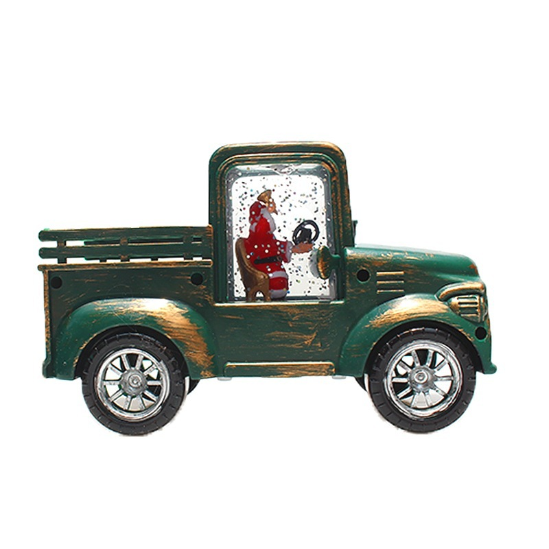 Christmas  Ornaments Creative Luminous Irrigation Car Retro Pickup Truck Model Desktop Decoration Dark green car