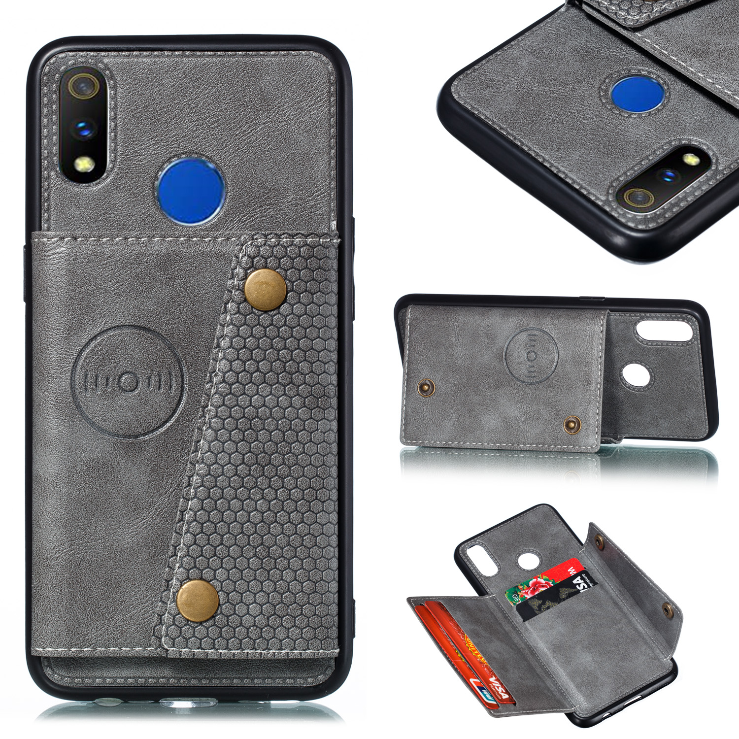 For OPPO Realme 3 PU Leather Flip Stand Shockproof Cell Phone Cover Double Buckle Anti-dust Case With Card Slots Pocket gray