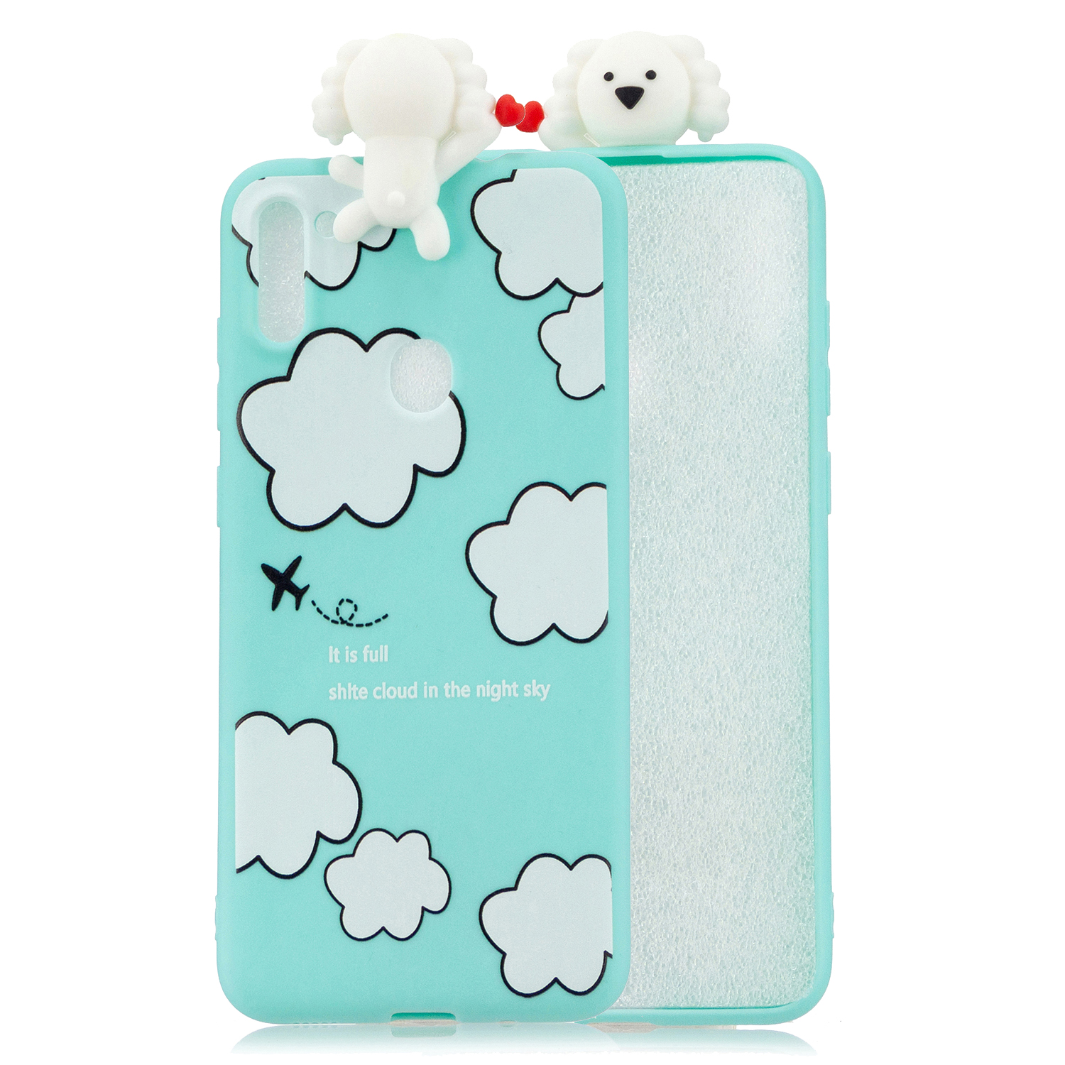 For Samsung A11 Soft TPU Back Cover 3D Cartoon Painting Mobile Phone Case Shell Clouds