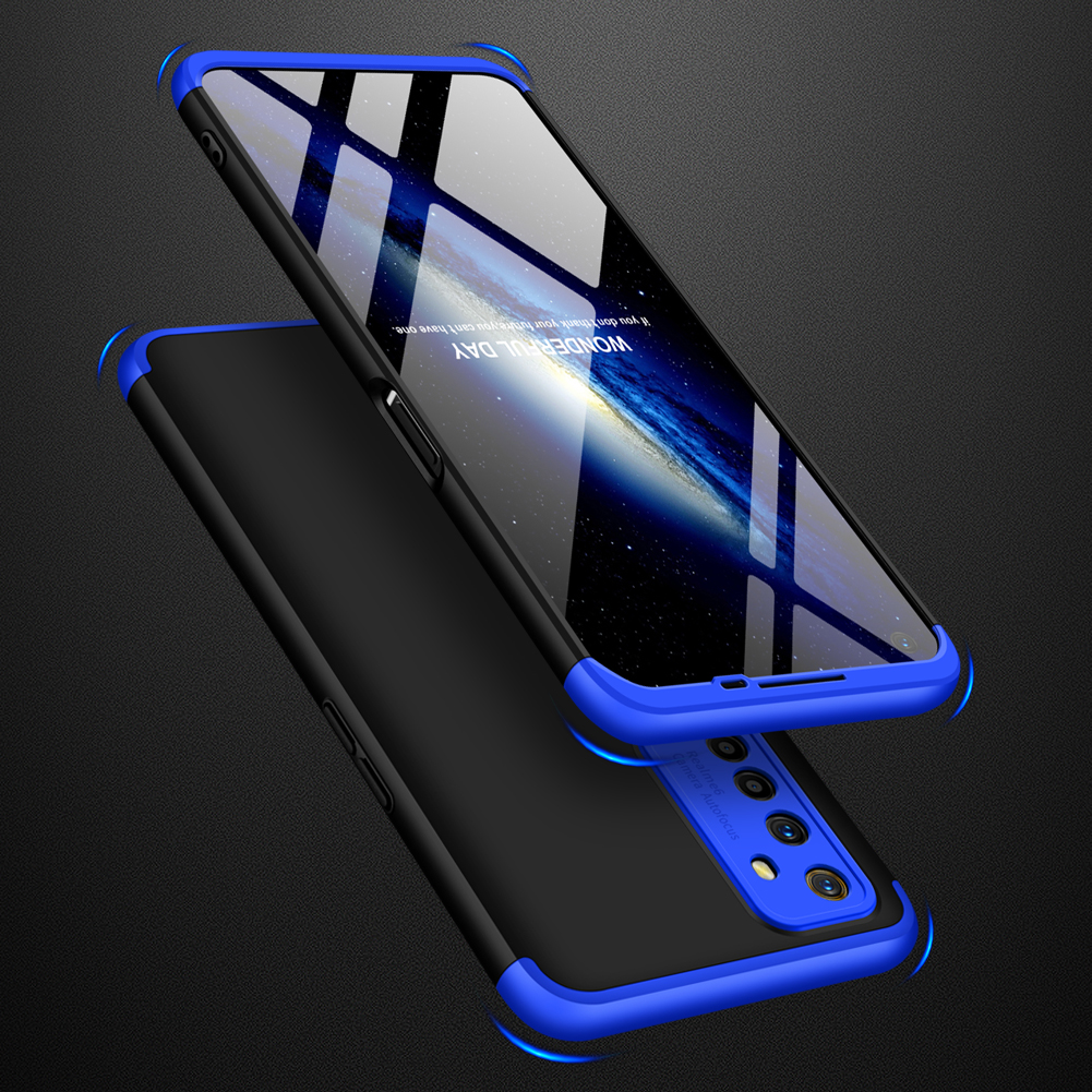 For OPPO Realme 6 Mobile Phone Cover 360 Degree Full Protection Phone Case Blue black blue