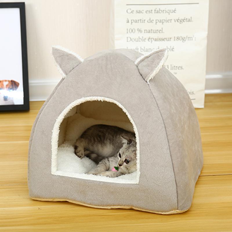Lovely Ear Shape Warm Sleeping Tent Nest Mat for Pet Cat Supplies gray_S 30*30*25 (cm) (milk cat, milk dog)