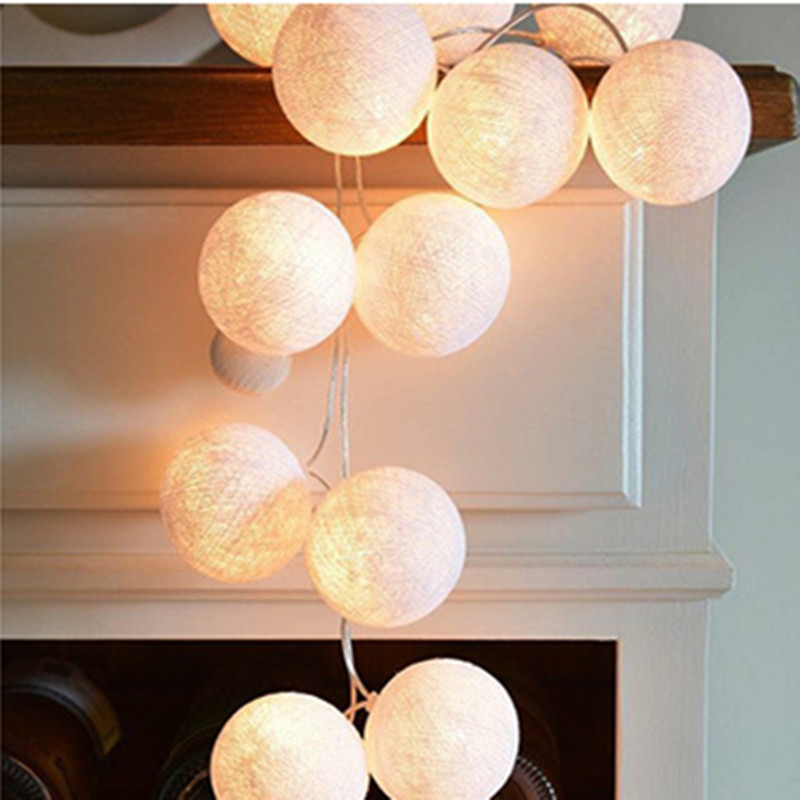 1.5M/3M/6M 10LEDs/ 20LEDs/ 40LEDs Fairy Cotton Balls String Lights Christmas Girl Bedroom Decoration Battery Powered 3 meters 20 lights