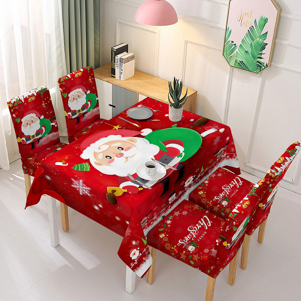 Christmas Waterproof Tablecloth/Chair Cover Dining Room Stretch Chair Covers Tablecloth 140*210cm