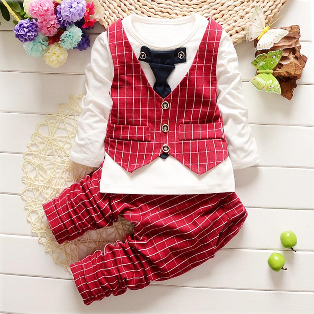 2Pcs Children Baby Gentleman Suit Tie Vest Long Sleeve and Pants Tie vest red_90cm