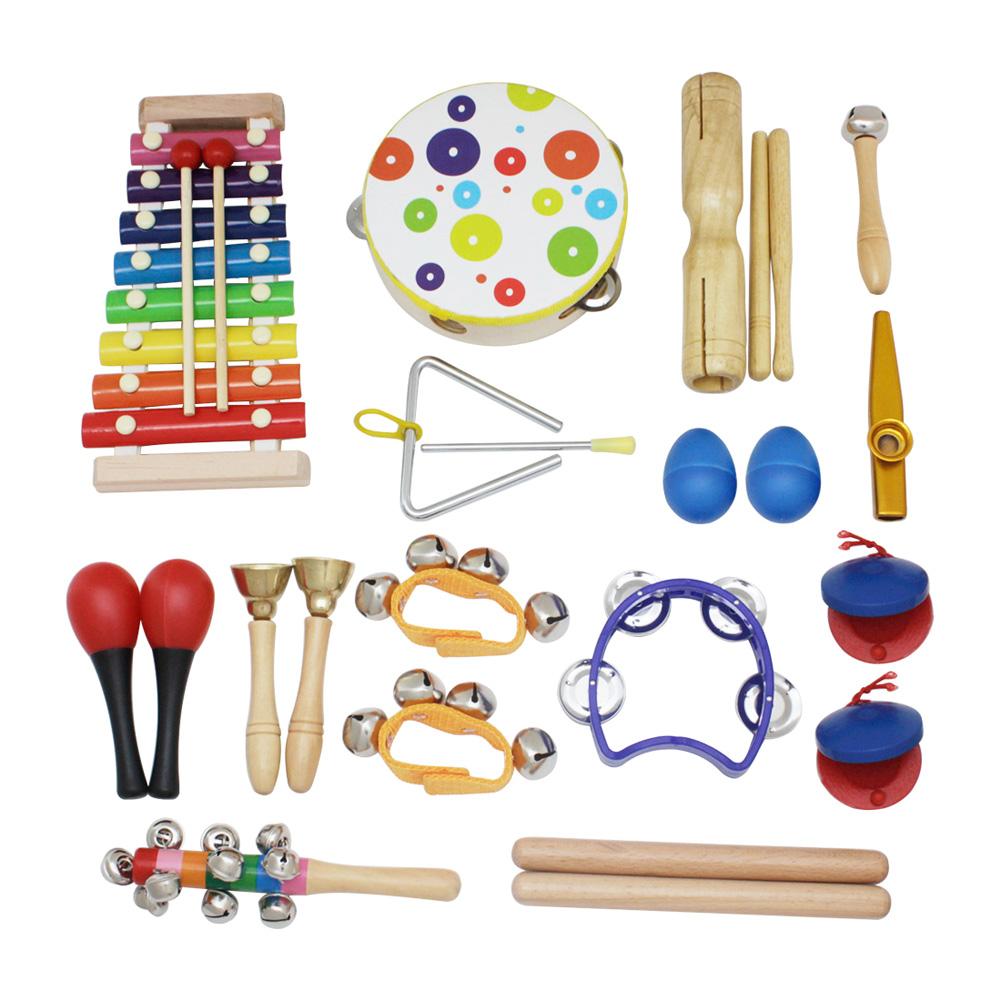 19pcs/set Percussion Instrument Kit Toys Multiple Colors for Kids Children multiple colour