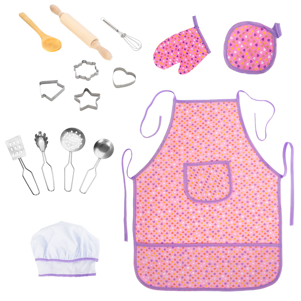 [US Direct] Acekid 15Pcs/Set Toddler Kids Chef Cooking Role Pretend Play Set with Apron Chef Hat