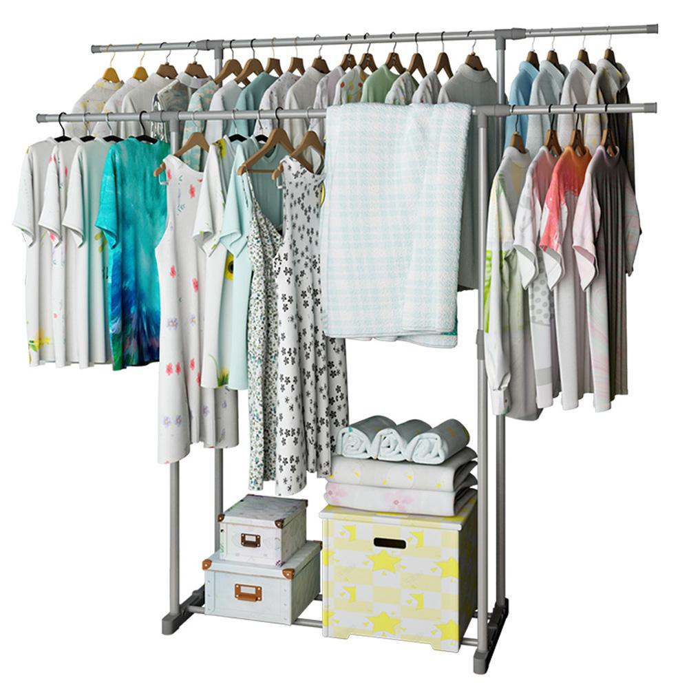 Clothes Hanger Coat Rack Dual Pole Storage Wardrobe Metal Clothing Drying Rack Silver