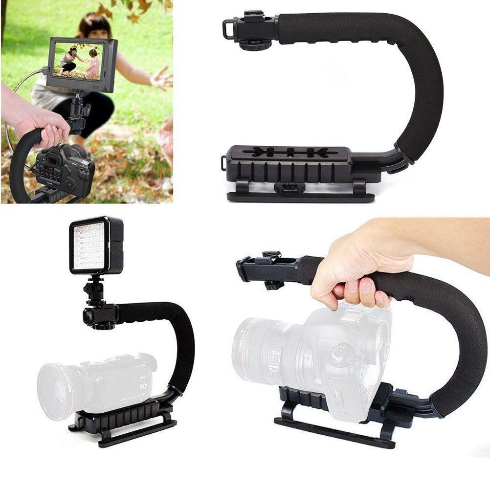 U shape Handheld Bracket Handle Grip Stabilizer for Canon DSLR Camera Camcorder Video black