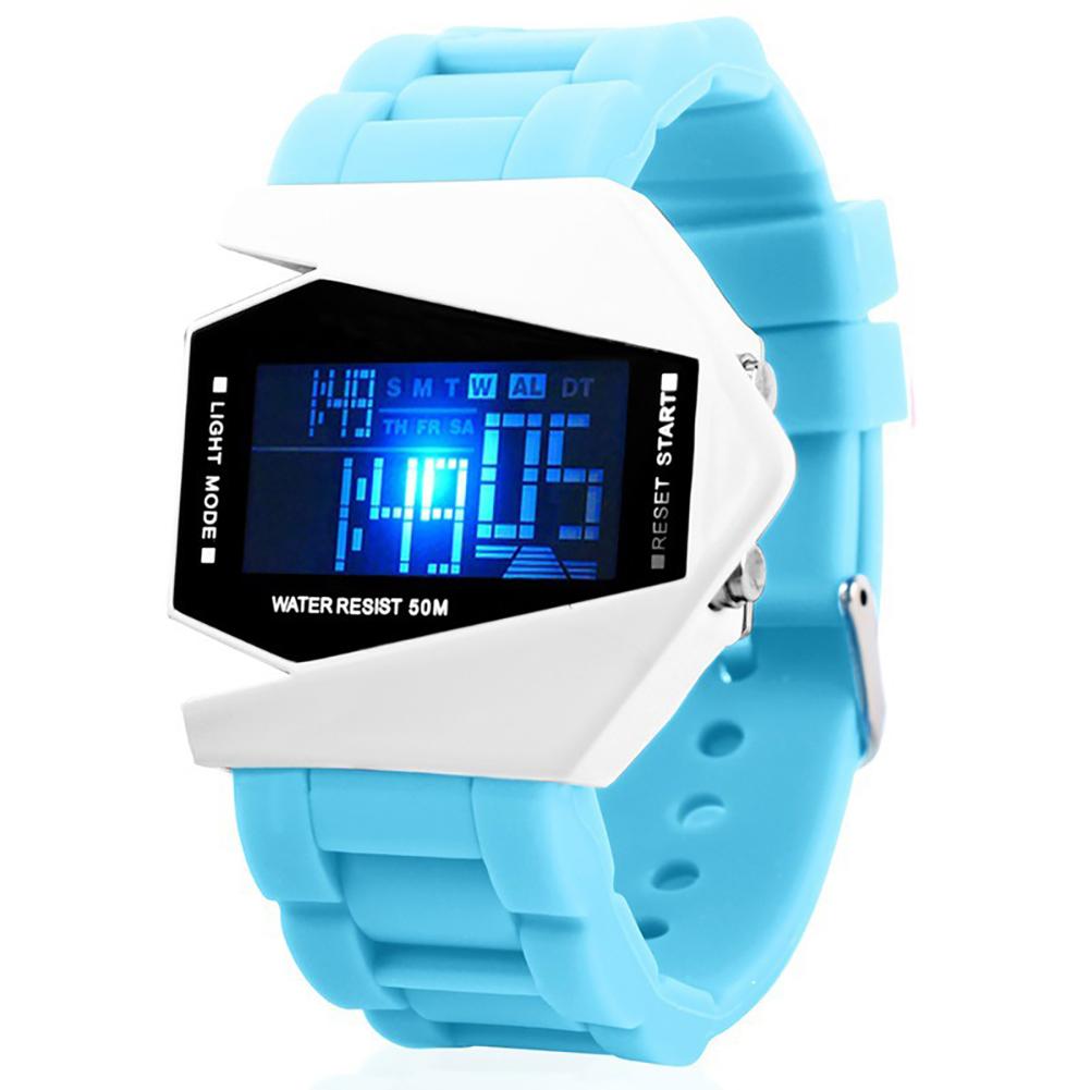 Watch Luxury Digital LED Date Sport Outdoor Electronic Watch For Party Gift Cute Electronic Fashion Wrist Watch Waterproof lake blue