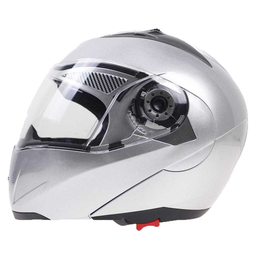 105 Full Face Helmet Electromobile Motorcycle Transparent Lens Protective Helmet Silver XXL