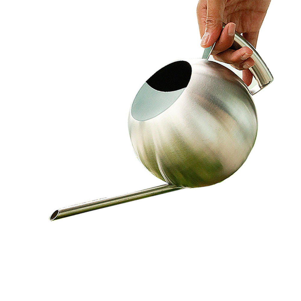 1L Stainless Steel Long-Mouth Watering Can Spherical Household Watering Gardening Tool  As shown