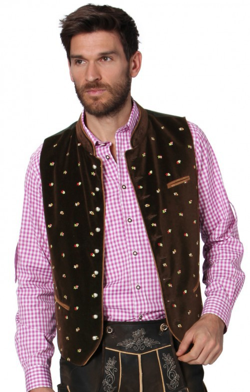 Men Casual Vest Beer Festival Waistcoat for Bavarian Traditional Costume Festival Party Embroidered coffee_50