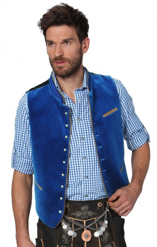 Men Casual Vest Beer Festival Waistcoat for Bavarian Traditional Costume Festival Party  blue_56