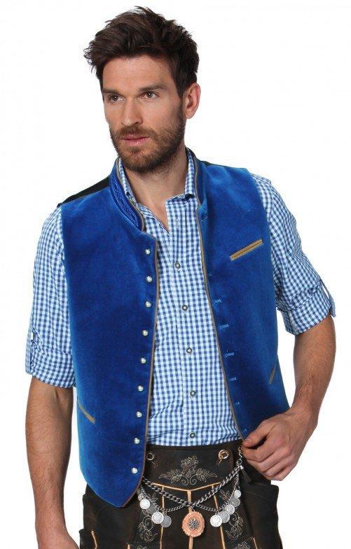 Men Casual Vest Beer Festival Waistcoat for Bavarian Traditional Costume Festival Party  blue_54