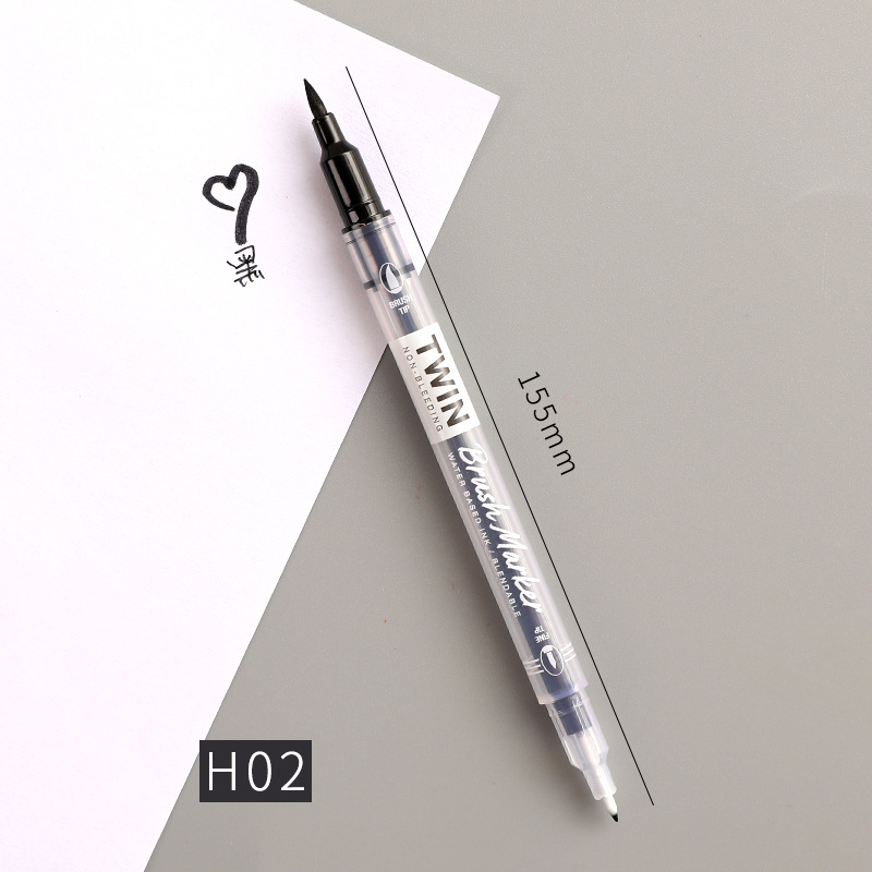 Double Head Marker Pen Multi Color Watercolor Water Based Hand Account Painting Pen Stationery Office Stationery H02 black_15cm