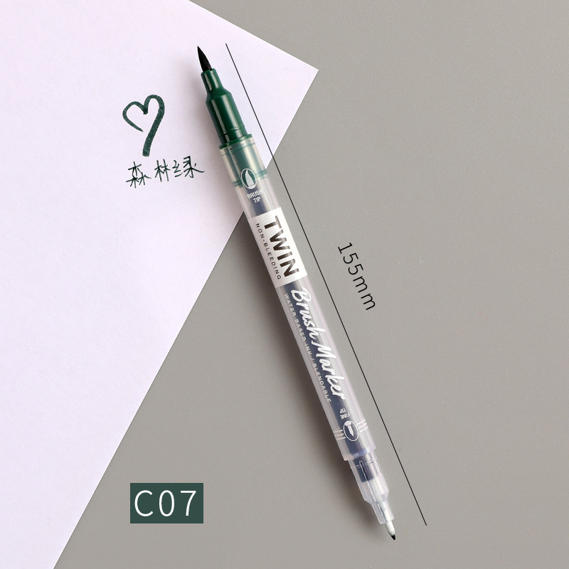 Double Head Marker Pen Multi Color Watercolor Water Based Hand Account Painting Pen Stationery Office Stationery C07 forest green_15cm