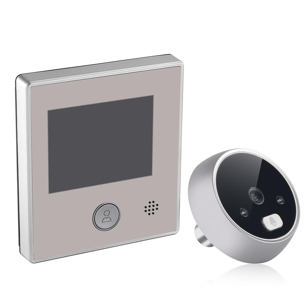 2.8 Inch Intelligent Electronic Cat Eye Door Mirror Visible Cat Eye Doorbell Comes Night Vision Door Peep-Hole Silver