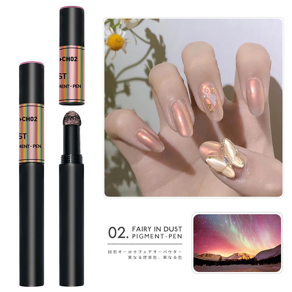 Solid Powder Air Cushion Magic Pen Nail Art Magic Mirror Effect Phantom Nails Pen Manicure Tools Aurora Mirror-02#