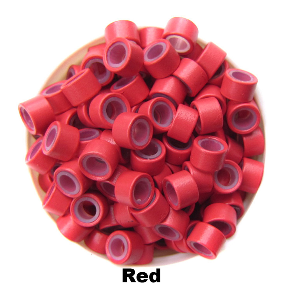 500pcs Silicone Micro Ring Aluminium Rings/Links/Beads Hair Extensions Tools for Human Hair red