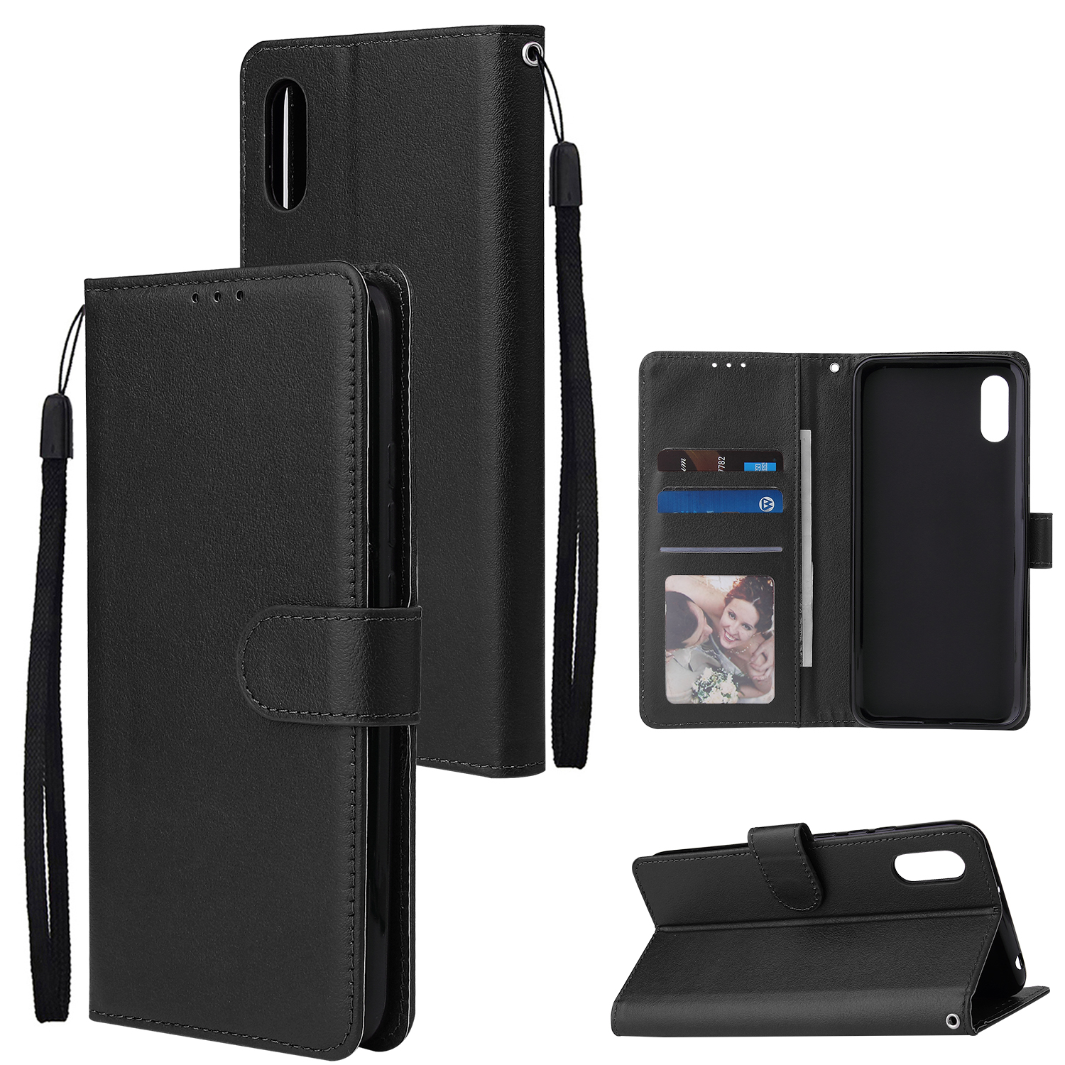 For Redmi 9A/Redmi 9C PU Leather Mobile Phone Cover with 3 Cards Slots Phone Frame black