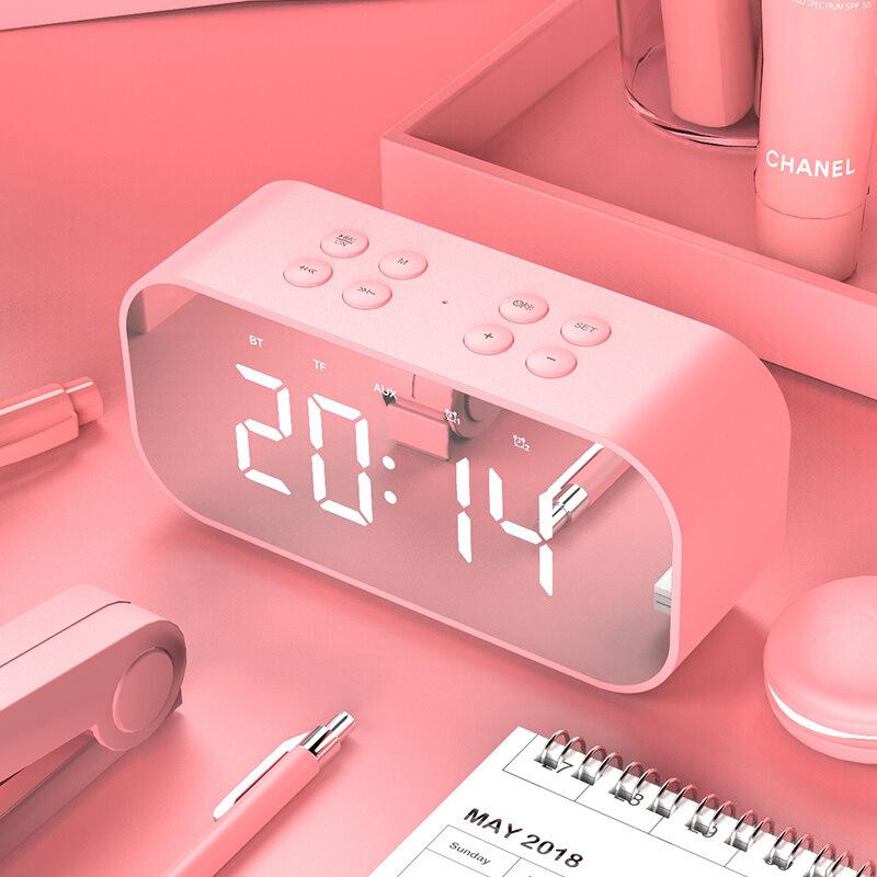 Alarm Clock Radio with Wireless Bluetooth Speaker FM Radio Night Light Home Bedroom Kitchen Office Kids Pink