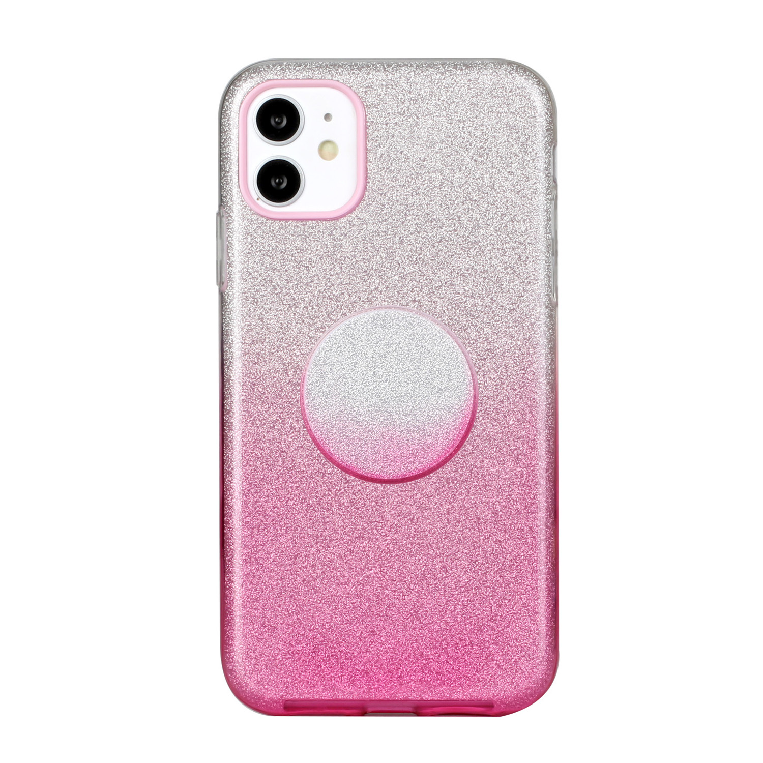 For iphone X/XS/XR/XS MAX/11/11 pro MAX Phone Case Gradient Color Glitter Powder Phone Cover with Airbag Bracket Pink