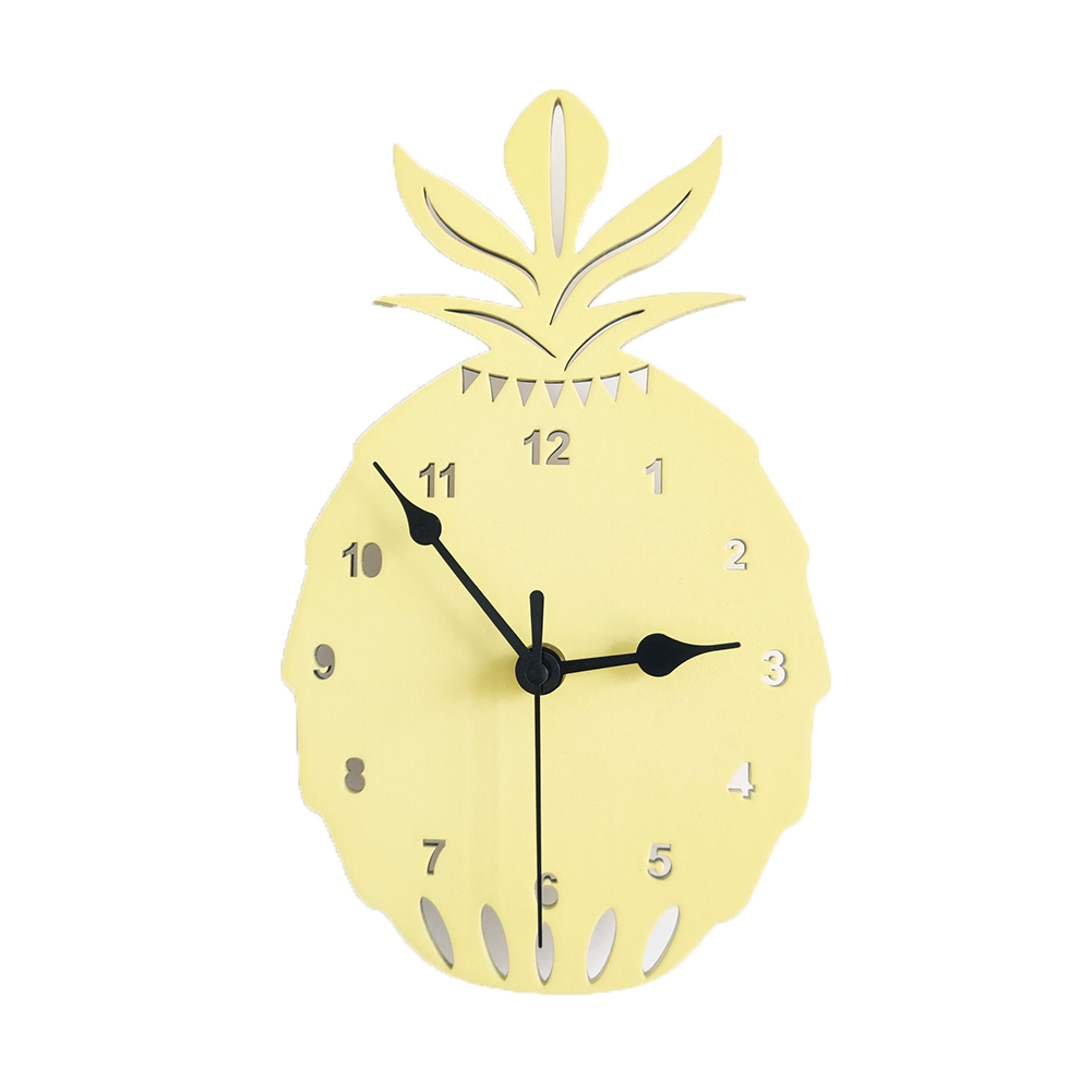 Wooden Pineapple Shape Clock Children Room Decoration Silent  Clock Wall Oranment Yellow pineapple