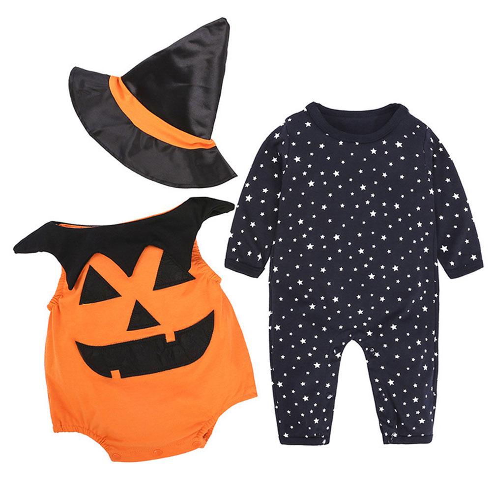 Infant Toddler 3Pcs Happy Halloween Costume Outfit Set Pumpkin Romper Pants Set As Show_80/6-9 months 0.15kg