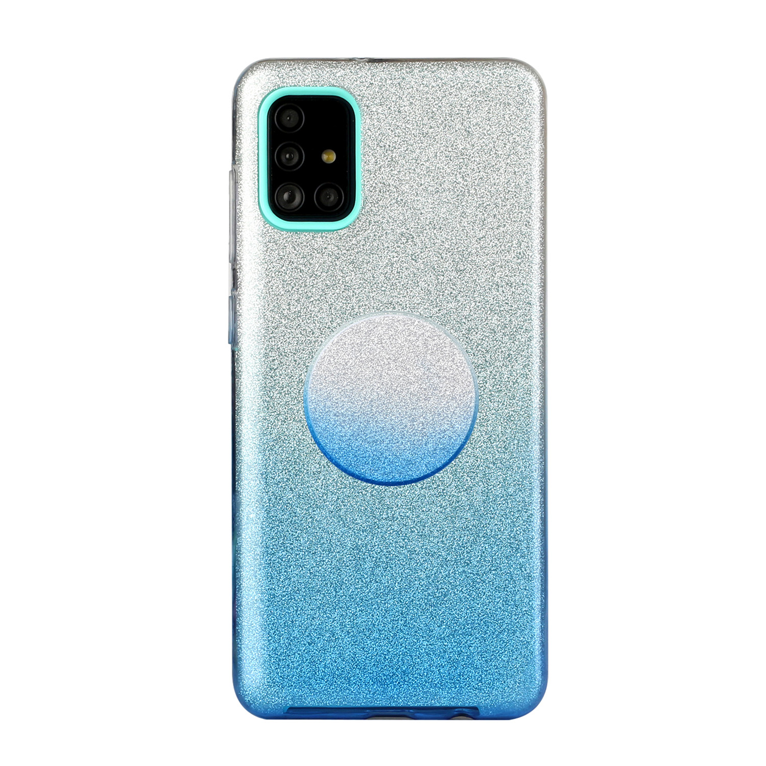 For Samsung A01/A11 European version/A31/A71 Phone Case Gradient Color Glitter Powder Phone Cover with Airbag Bracket blue