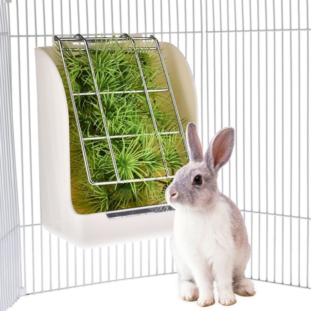 Rabbit Grass Feeder Spring Straw Frame Grass Basket Small Pet Guinea Pig Totoro Cage Accessories Fixed Food Container Bowl white