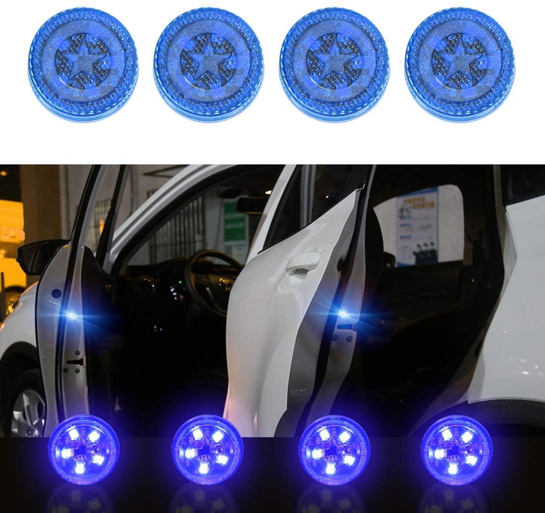 4pcs Car Safety  Light Anti-collision 5 Led Side Door Sensor Warning Light blue_5LED