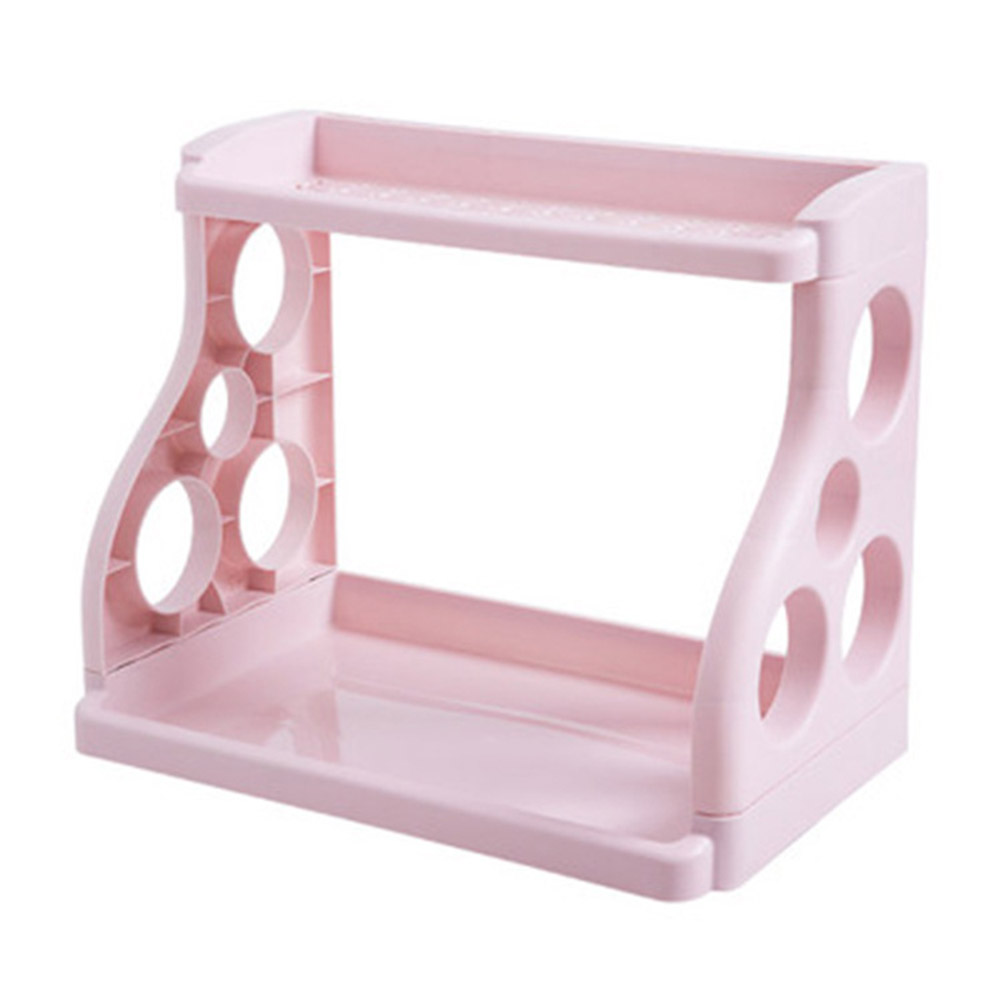 Multifunctional 2 Layer Storage Rack for Kitchen Sauces Knife Organize Pink_Double layer