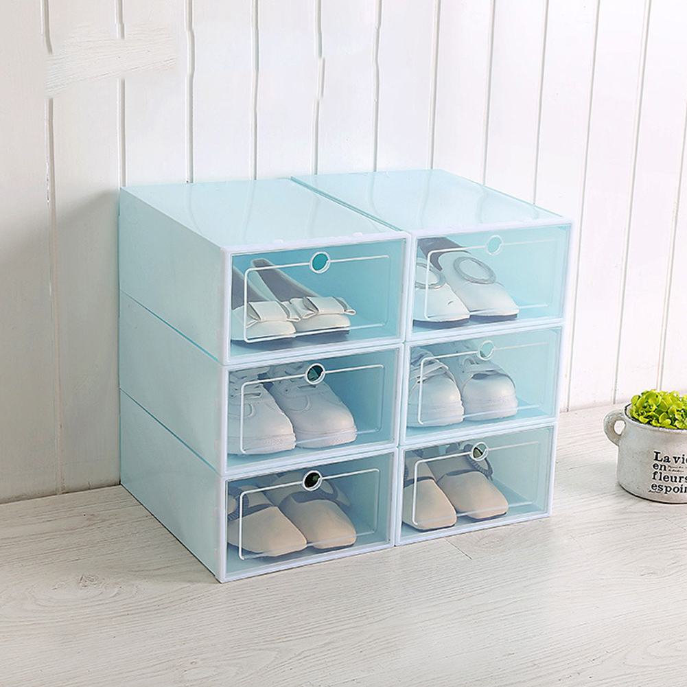6Pcs/Set Multifunction Unisex Transparent Storage Box with Cover for Shoes